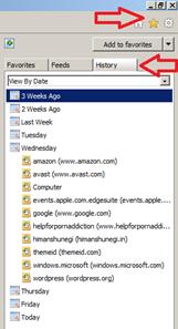 View internet history in Internet Explorer
